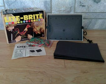 Vintage 1973 Hasbro Lite-Brite in Original Box with Light Bulb and 16 Unused Sheets - Works Great