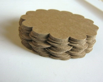 2.5 Inch Scalloped Circle Die Cuts Kraft Brown 60pcs Cardstock Paper 65lb