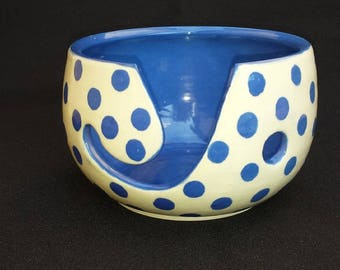 Yarn Bowl Blue Polka Dot