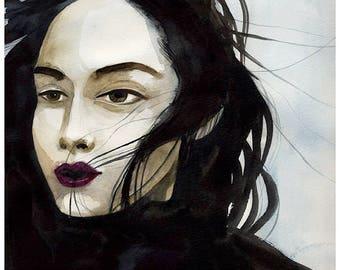 Watercolor portrait of woman, dark hair, wind in her hair, artwork, 8x10 Giclee PRINT, Wall Art