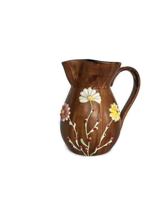 Italian pottery vintage Norleans pitcher applied flowers Made in Italy
