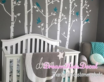 birch trees wall decals, white tree decal, tree wall decals, vinyl wall decal, wall stickers nursery, birch tree-set of 6 trees-DK243