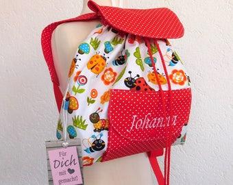 Kindergarten backpack Zaino Ladybug with red Pünktchemstoff