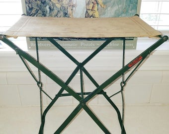 Rare WW1 Antique US Army Military Field Folding Stool Chair Made By Lincoln