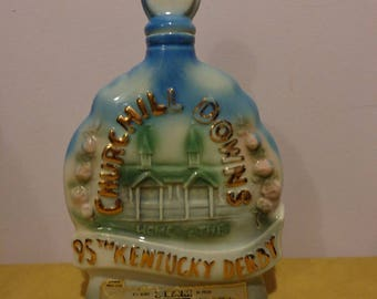 Jim Beam Bourbon Whiskey Vintage 1969 Decanter Chruchill Downs Kentucky Derby 95th Run for the Roses