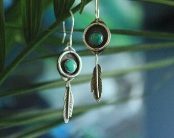 Handmade turquoise feather earrings 925