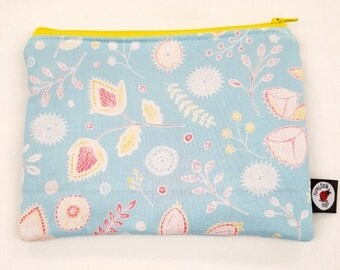 Blue Floral Pencil, Cosmetic, CSP, Zipped Pouch
