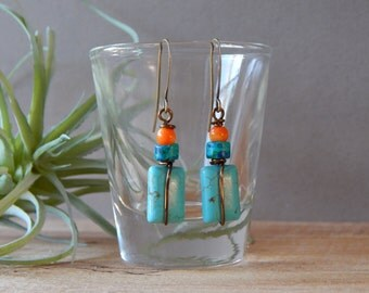 Small Turquoise Colored Howlite Dangle Earrings, Artisan Jewelry Earrings, Bohemian Jewelry, Handmade Gift for Women, Fashion Jewelry