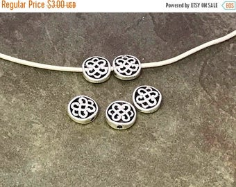 On Sale NOW 25%OFF Zamak Celtic Knot Spacer Beads For Up To 1.5mm Round Leather Cord - Ant Silver - Z4157 - Qty 5