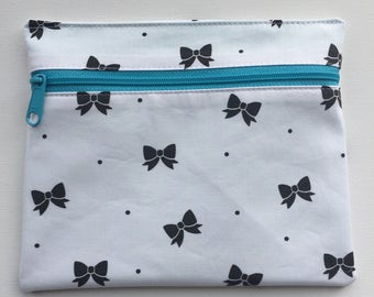 Ready to Ship Medium Zippered Flat Pouch-- Bows