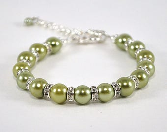 Olive Green Pearl Bridesmaid Bracelet