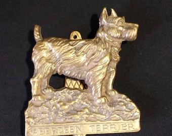 Vintage 1930's Aberdeen terrier  brass door knocker
