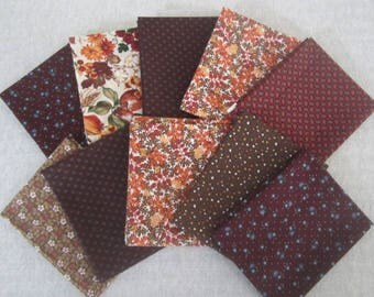 10 Fat Quarter Bundle Pack Vintage Fabrics Fall Autumn Fat Quarter Bundle Autumn Colors Fabrics