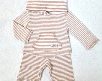 Organic Baby Clothes, Natural undyed Hoodie Set,Neutral gender