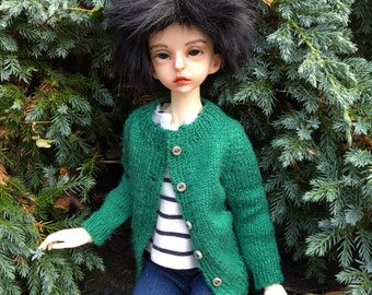 BJD cardigan for MSD Boy or Girl, Unoa, Minifee, hand knitted in wool & silk