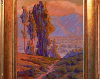 California Desert With Eucalyptus.  oil painting By listed artist James Osorio. California Plein Air, Impressionism