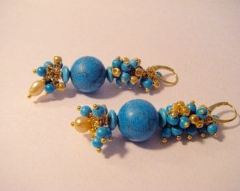Chandeliere Turquoise blue with turquoise in gold
