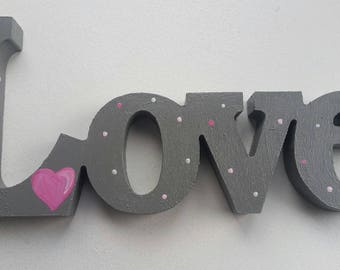 LOVE - Wooden Warm Grey and Pink Hand Painted Word