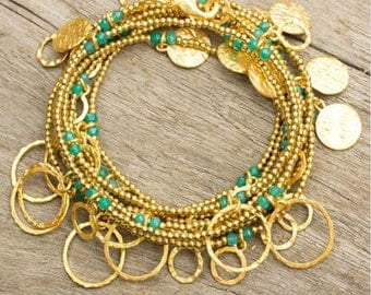 24k gold plated brass beaded wrap bracelet with gold coin charms and chalcedoney beads