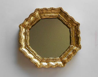 "6.5 "",Octagon Mirror, Decorative Wall Mirror, Gold Leaf  Wall Mirror, Gold Frame Mirror, Octagonal Mirror, Wall Mirror Decorative Mirror"