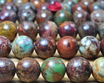 47 pcs of Natural African Green Opal smooth Round beads in 8mm