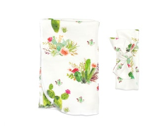 Floral Cactus Swaddle Blanket, Baby Girl Cactus Swaddling Blanket, Receiving Blanket, Baby Swaddler, Cactus Swaddling Blanket, Desert Baby