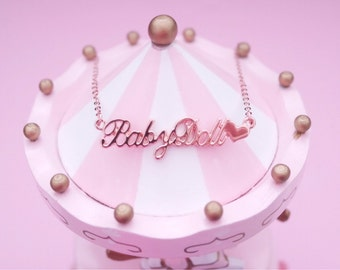 Baby Doll Babe Girl Rose Gold Lolita Kawaii Name Heart Necklace