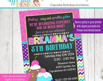 Cupcake Invitation - Cupcake Party - Invitation - Invite - Sprinkles - Printable Cupcake Decorating Party