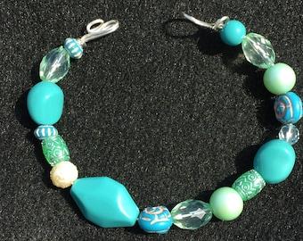 """Blue/turquoise/green  beaded bracelet 8"""" length"""