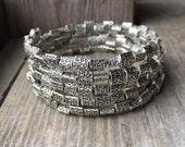 Swirly Silver Multi Strand Memory Wire Coil Bracelet