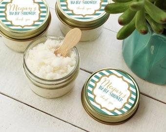 Set of 12- 4oz - Baby Shower Favor Sugar Scrubs - All-Natural | Vegan | Sparkle Design Shower Label | Baby Boy Shower Favor | ANY OCCASION