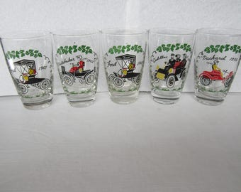 5 Vintage Libby Glasses (1950s), Ford, Packard Studebaker Cadillac