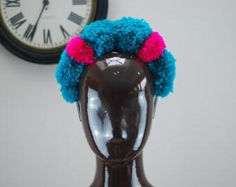 pompom festival headband crown, festival clothing, teen gift, statement headpiece, rave clothing headband, glastonbury, burning man