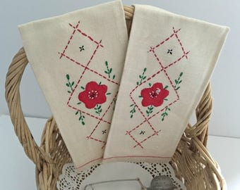 Embroidered Linen Tea Towels, Vintage Linen Kitchen Towels, Cross Stitch Towels, 1950's Kitchen, Set of Two