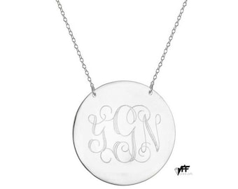 "Silver Monogram necklace - 1.5"" personalize  monogram necklace on .925 silver"