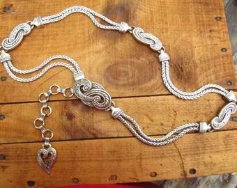 Vintage Silver Chain Belt - Western Heart Drape Chain Belt