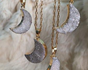 Druzy Moon Crescent Moon Druzy Necklace Pendant Jewelry Druzy Angel Aura Pendant Necklace Moon Crescent Moon Gold Boho Angel Aura Cluster