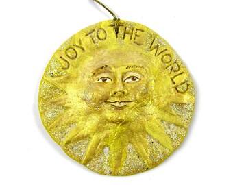 Vintage 1995 Christmas Ornament Sun Ornament Salt Dough Sun Face Ornament