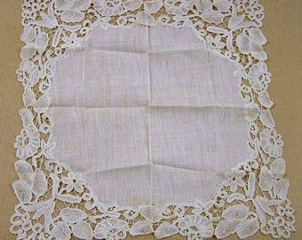 Vintage Victorian Lace Hanky Battenburg Lace Wedding Hanky