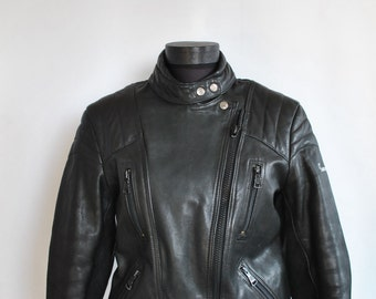 Vintage HARO LEATHER JACKET , women's motorcycle jacket .....(029)