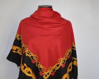 Vintage PRINTED SILK SCARF , hand rolled silk scarf............(220)