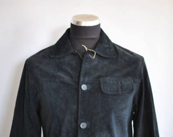 Vintage LEATHER NABUC men's summer blazer , fashion men's  clothes ..........(354)