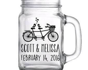 "48 Custom ""Tandem Bicycle"" Wedding Mason Jars"