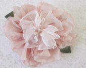 Bridal Flower brooch hair clip Wedding brooch flower, fabric flower, blush pink