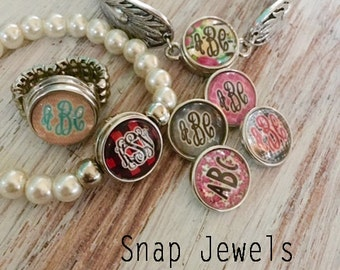 Noosa Snap!!!! Monogrammed Snap (Ginger Snap Inspired) - Snap Jewelry - Personalized Gift-Monogrammed Snaps - Design Your Own - Made in USA