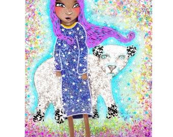 Children's Nursery Art Print - Princess and The Bear