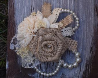 Rustic Wedding Corsage, Burlap Corsage, Bridesmaid Corsage, Mother of the Bride Corsage, Mother of the Groom Corsage, Sola Corsage