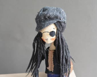 Boy with black dreadlocks - Pixie elf doll - Woodland  boy - Elf doll - Handmade doll - Textile toy - Exrime primitive - Embroidered plane.