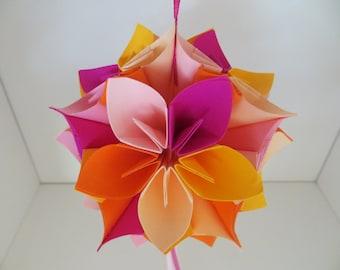 Kusudama - origami - yellow, oranges and pinks