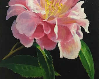 Camellia, oil painting, flower painting, oringinal painting